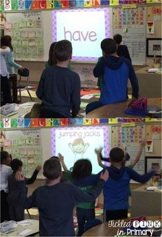 Sight word fluency & fitness is a great brain break to work on learning words and getting in movement (other skills available) Teaching Sight Words, Sight Word Practice, Sight Word Games, Sight Word Activities, Reading Activities, Movement Activities, Spelling Activities, Literacy Activities, Physical Activities