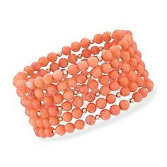 Ross-Simons - Set of Six 5-5.5mm Coral Stretch Bracelets With 14kt Yellow Gold - #784980