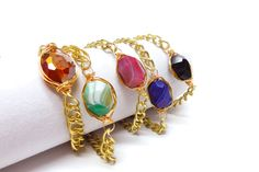 """""""Luxe Bracelets with Gold Chain"""" - hand wrapped faceted glass and agate nuggets in warm gold make this bracelet an instant modern classic.  Wear alone or wear stacked to create your own personal statement!"""
