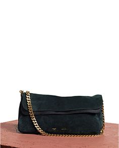 Celine Yuri Gold Chain Suede Shoulder Bag