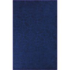 @Overstock.com - Hand-crafted Viburnum Solid Blue Geometric Wool Rug (8' x 11') - With a pattern reminiscent of ancient Celtic knots, this blue wool rug offers a new look in contemporary living room decor. A medium-high pile gives you excellent foot comfort, and the large size makes the rug ideal for warming up your floor.  http://www.overstock.com/Home-Garden/Hand-crafted-Viburnum-Solid-Blue-Geometric-Wool-Rug-8-x-11/7711818/product.html?CID=214117 $415.37