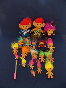 Lot of 19 Troll Items 10 Dolls 2 Doll Key Chains 1 Doll Pens Good Collection | eBay