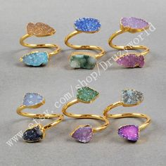 Gold Plated Double Rainbow Agate Druzy Geode Adjustable Wrap Ring Oval Arrow Shield Shape Natural Druzy Ring Gemstone Druzy Jewelry G0326 by Druzyworld on Etsy