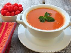 I have had a bumper crop of tomatoes ripening this month and the weather is perfect for this tomato soup.