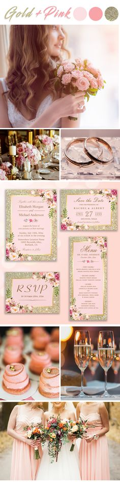 A Gold Glitters Blush Pink Floral Invitation Suite, with items from invitation to RSVP card, Thank You Card, Stickers, Address Label, Sign Poster, and more. Wedding Invitation Trends, Glitter Wedding Invitations, Floral Invitation, Invitation Suite, Wedding Themes, Invitation Cards, Wedding Colors, Color Themes, Gold Glitter