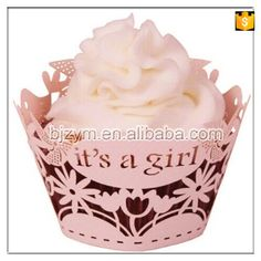 """Check out this product on Alibaba.com APP """"It's a girl"""" pink paper Cupcake Wrapper Princess handmade Fondant Muffin Cake Wrappers for baby shower kid's birthday"""