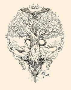 Yggdrasil, Uroboros by sunshiver on deviants.  No dragon but snake wrapped around trunk.  With more leaves                                                                                                                                                      More