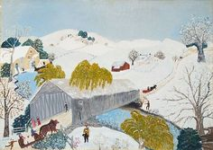 Grandma Moses, The Old Bridge in the Valley © Grandma Moses Properties, Co.