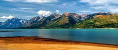 Jackson Lake (panoramic view). Grand Teton National Park, Wyoming.