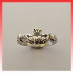 ANELLO ORO BIANCO 14KT CLADDAGH RING Fede Irlandese Celtic Ring