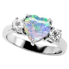 Non traditional but beautiful opal heart ring.