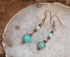 Handcrafted Turquoise Howlite Pierced Earrings by TrendyCharm, $8.00