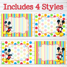 Instant Download Mickey Mouse Food Labels // Mickey Mouse Birthday Party // Mickey Mouse Place Cards // Mickey Mouse Food Tents