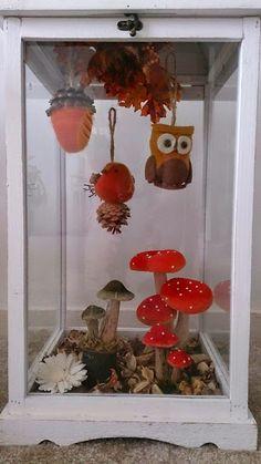 Het is wat vroeg, maar mijn lege troosteloze lantaarn kon ik ook niet meer aanzien. Vandaar dat ik hem gevuld heb met paddenstoelen en ander...