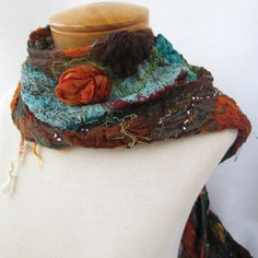 Nuno felted scarf in teal orange and brown by BlindSquirrel, $86.00