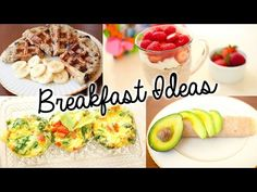 ▶ Healthy & Easy Breakfast Ideas for School! - YouTube  Easy oatmeal waffle  1 banana mashed  1/2 cup oats 2 eggs or 1 egg and 1 egg white vanilla extract  cook on waffle iron for 5 min or until golden brown and crispy