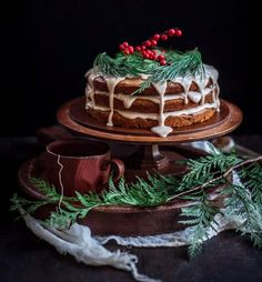 For these sweet holidays, I have a layer cake to share with you today! This Date and Honey Cake with Cinnamon Orange Glaze is the perfect holiday treat! Adult Christmas Party, Noel Christmas, Christmas Desserts, Christmas Treats, Christmas Baking, Christmas Wedding, Christmas Cakes, Holiday Baking, Cupcakes