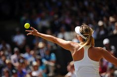 Maria Sharapova prepares to serve on Centre Court