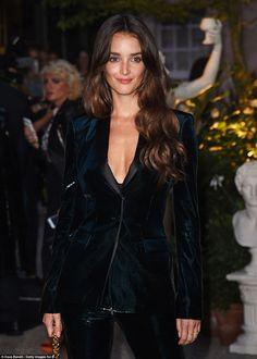 Velvet vixen: Actress Charlotte Le Bon looked stunning in a green velvet suit