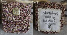 Scripture Coin/Jewelry Pouch Quilted & Crochet with Proverbs, A Happy Heart Promotion Party, Gifts For Nature Lovers, Coin Jewelry, Happy Heart, Vintage Bags, Pouch Bag, Square Quilt, Proverbs, Wristlets