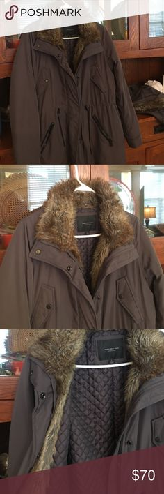 Marc New York Winter Coat Brown with faux fur coat by Marc New York. Worn once. EXCELLENT condition. Paid $100. Many pockets and waist cinched cord. Removable hood. Size L Andrew Marc Jackets & Coats