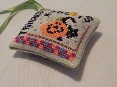 Trick or Treat :: Halloween cross stitch scissor fob