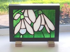 Snowdrops- one of #dolittleglass flower series. Aimed at the stately home gift shop market.  Best displayed on a window sill, shelf or hung in window or on a wall.