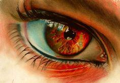 Amazing colored pencil art by artist Brian Scott on DeviantArt. Pencil Drawings, Art Drawings, Brian Scott, Polychromos, Fire Eyes, Realistic Eye Drawing, Wow Art, Coloured Pencils, Color Pencil Art