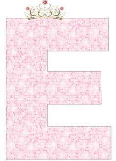 Alfabeto de Corona con Fondo Rosa.