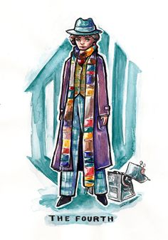 The Fourth Doctor from Doctor Who with k9 watercolor and ink sketch