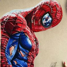 Battle Damaged Spidey by Chris Clarke  Go to @chris_clarke_art for more of this artist by devilzsmile.com