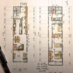 Narrow House Plans, House Floor Plans, Wood Chair Design, Compact House, Bungalow House Design, Shipping Container Homes, House Layouts, Ideal Home, Architecture Design