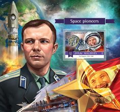 Post stamp Maldives MLD 15804 b	Space pioneers (Yuri Gagarin (1934–1968), Vostok spacecraft)