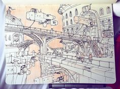 Fantastic #penandink #sketchbook #conceptart by Jake Parker (@jakeparker) showing a scene of a bustling Monday #morning in Bridgeport a city from in Jake's comic #SkyHeart. It's a really cool look into the lives of ordinary people from SkyHeart which is not a #pointofview you typically see in a #comic or from an #artist. A lot of time there's the narrative... and that's all. That makes sense for some #webcomics and regular comics but adding depth to your world (i.e. #worldbuilding) helps…