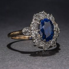 1920s Platinum-on-Gold 2.75 Carat Sapphire and Diamond Ring | From a unique collection of vintage cocktail rings at https://www.1stdibs.com/jewelry/rings/cocktail-rings/