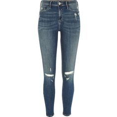 River Island Mid blue wash ripped Molly jeggings ($84) ❤ liked on Polyvore featuring pants, leggings, jeans, bottoms, blue, jeggings, women, tall pants, tall leggings and distressed jeggings