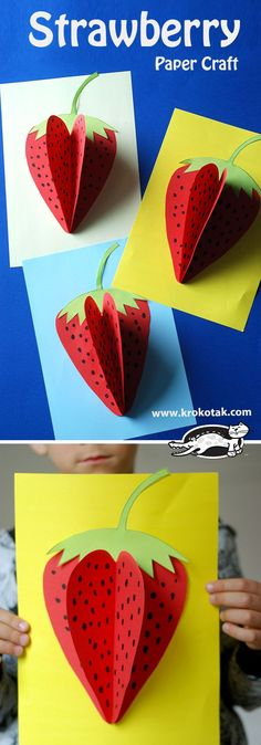 Strawberry Paper Craft - DIY and Crafts Kids Crafts, Summer Crafts, Toddler Crafts, Diy And Crafts, Arts And Crafts, Kids Diy, Summer Fun, Strawberry Crafts, Fruit Crafts