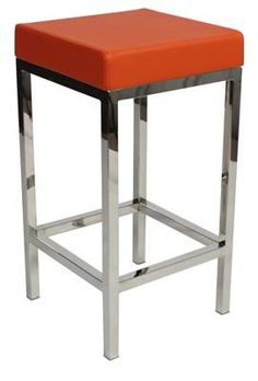 """Albany"" Stainless Steel Frame Backless Padded Bar Stool in Orange - AU$119 – https://www.simplybarstools.com.au/products/albany-stainless-steel-frame-backless-padded-bar-stool-in-orange - Simply Bar Stools - steel, backless, fixed leg, bar stools. #Australia #Furniture"