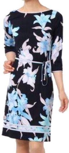 Blue Orchid Print Jersey Silk Dress
