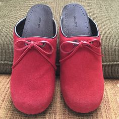 LANDS' END Red Suede Mules/Clog shoes Never worn red suede clogs.. Front of shoes have a red leather tie bow.. They been stored in my closet  Lands' End Shoes Mules & Clogs