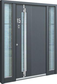 Aluminium Haustür Gusen Eine #Aluhaustür mit zwei Seitenteilen und satiniertem 3-Scheiben-Sicherheitsglas. In der Tür ist ein Fingerscanner sowie ein Türflügel mit Motorschloss verbaut. Griffstange in #Edelstahl, Türoberfläche mit Glaseinsatz, extra starke und schwere Ausführung (ca. 300 KG). Die Haustür gibt es bei Peter Kraml in Linz. Bei Fragen meldet euch einfach. #haustüren #aluhaustür #haustüre #eingangstüren #aluhaustür #inotherm #neubau #türen #haustürenmodern