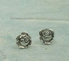 Sterling Silver Stud Earrings  Rose Earrings by by KathrynRiechert, $28.00