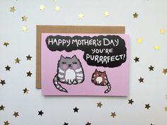 Happy Mother's Day Cat Card You're Purrrfect by AnnasArtBoutique