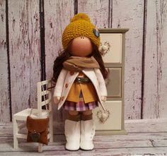 Decor doll Home doll Tilda doll Art doll handmade brunette white colors Soft…