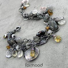 bunch - naszyjnik z kamieniem księżycowym, cytrynem .... Biżuteria Bransolety formood