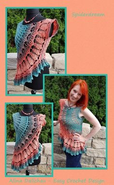 Spiderdream The slightly different crochet tunic Worked in rounds from one arm to the other All Sizes The pattern can be worked in all sizes, it is explained step by step and suitable for creative heads who want to bring forward own ideas to make their wo