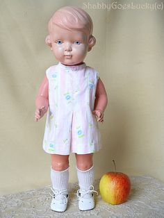 Large Schildkröt turtle mark doll Inge 1935 – 38, old German vintage celluloid doll with painted blue eyes, 17 inch tall, full clothing