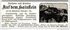 Original-Werbung/ Anzeige 1896 - KURHAUS UND PENSION AUF DEM HAINSTEIN BEI DER WARTBURG / EISENACH - ca. 100 x 40 mm