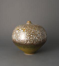 Brother Thomas Vase Form Textured White and Iron yellow Glaze Porcelain