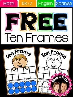 FREE TEN FRAMES: Add an interactive component to your math centers or stations with these cute ten frames. They can be used to support basic number senses skills, counting and simple addition and subtraction problems.
